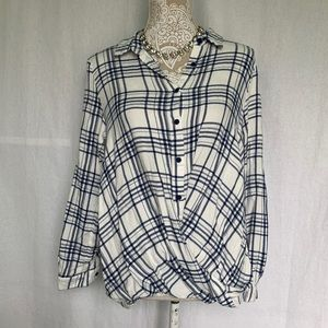 Doe & Rae // blue, White Plaid Drape Front Top M